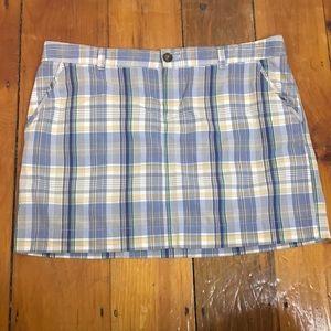 3/$27 Old Navy Plaid Blue Tan White Short Skirt